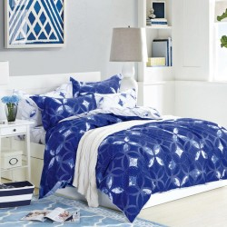 Blue & white cover bed sheets