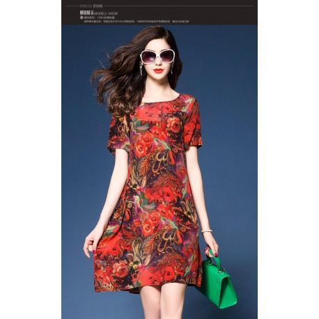 Red Print Floral Dress