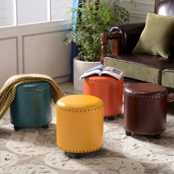 leather bench shoes stool