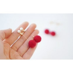 Cute Red Ball Earrings