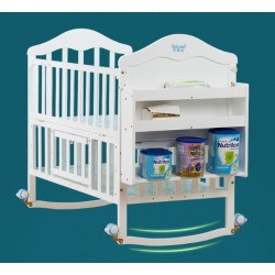 Baby crib solid wood paint-free environmental protection multi-functional pine baby cradle bed