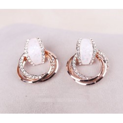 Korea Simple Shells Diamond Circle Earrings