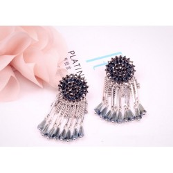 Long Crystal Chain Tassel Earrings