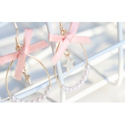 Pink Bow Pearl Star Earring