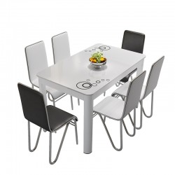 Rectangular tempered glass dining table and chair