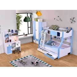 Children Bed Room Set, Wardrobe Study Table with Chair and Bed with Mattress