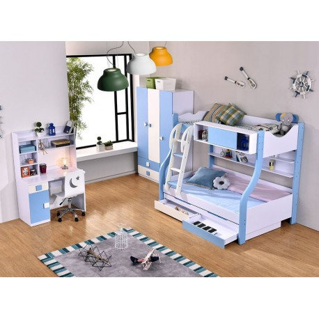 Children Bed Room Set, Wardrobe Study Table with Chair and Bed with  Mattress - OYAYA