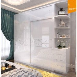 Two Door Sliding Door Wardrobe with corner cabinet and top cabinet