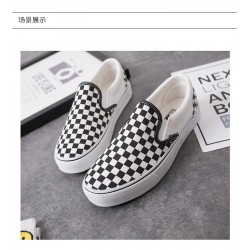 Black and White Plaid Canvas Shoes