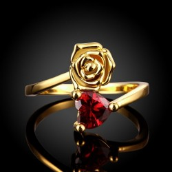Red Heart Crystal Ring