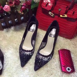 Pointed High-Heeled Lace Shoes